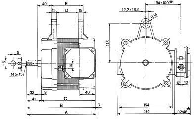 Disegno LRAP basculante con morsettiera laterale, dimensioni principali: diametro albero 14j6mm - linguetta 5x5x20 - pressacavo PG11 - distanza asse albero-asse supporti: 113mm - foro supporti diametro 28mm. Quote riportate in tabella: A-lunghezza totale motore con copribasetta. B-lunghezza totale motore senza copribasetta. C-lunghezza totale motore senza copribasetta meno sporgenza albero. D-distanza interna tra i due supporti motore. E-distanza esterna tra i due supporti motore