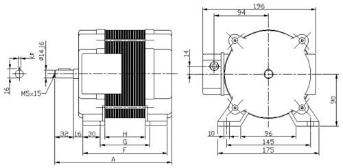 Disegno LRAP con piedini, morsettiera laterale - dimensioni principali: diametro albero 14j6 mm - interasse fori 145mm - altezza asse 90mm - linguetta 5x5x20 - pressacavo PG11
